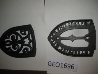 Vintage Cast Iron Trivets For Sad Irons [geo1696bt] photo
