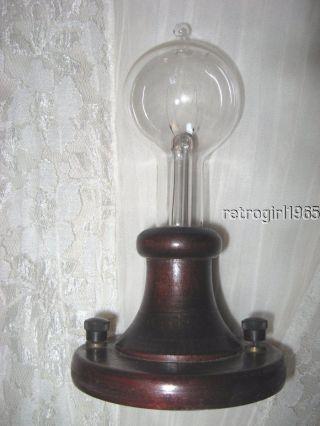 Thomas Edison 1929 50th Anniversary Tipped Light Bulb Triple Loop/wood photo