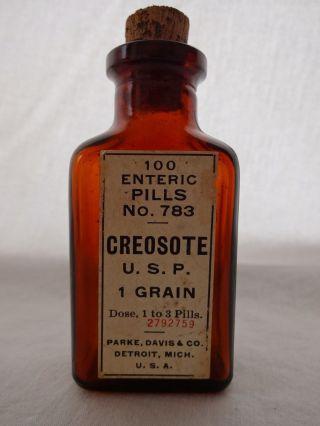 Antique Parke Davis Apothecary Medicine Creosote Glass Bottle Cork Top Old Label photo
