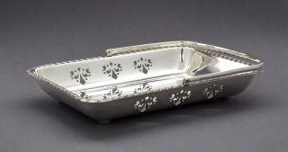 Vintage Yeoman Silver Plate Fruit Bowl Basket Swing Handle Bun Feet Pierced photo