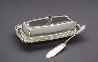 Vintage Silver Plate Octagonal Ornate Butter Dish Rose Finial Gadroon Border photo
