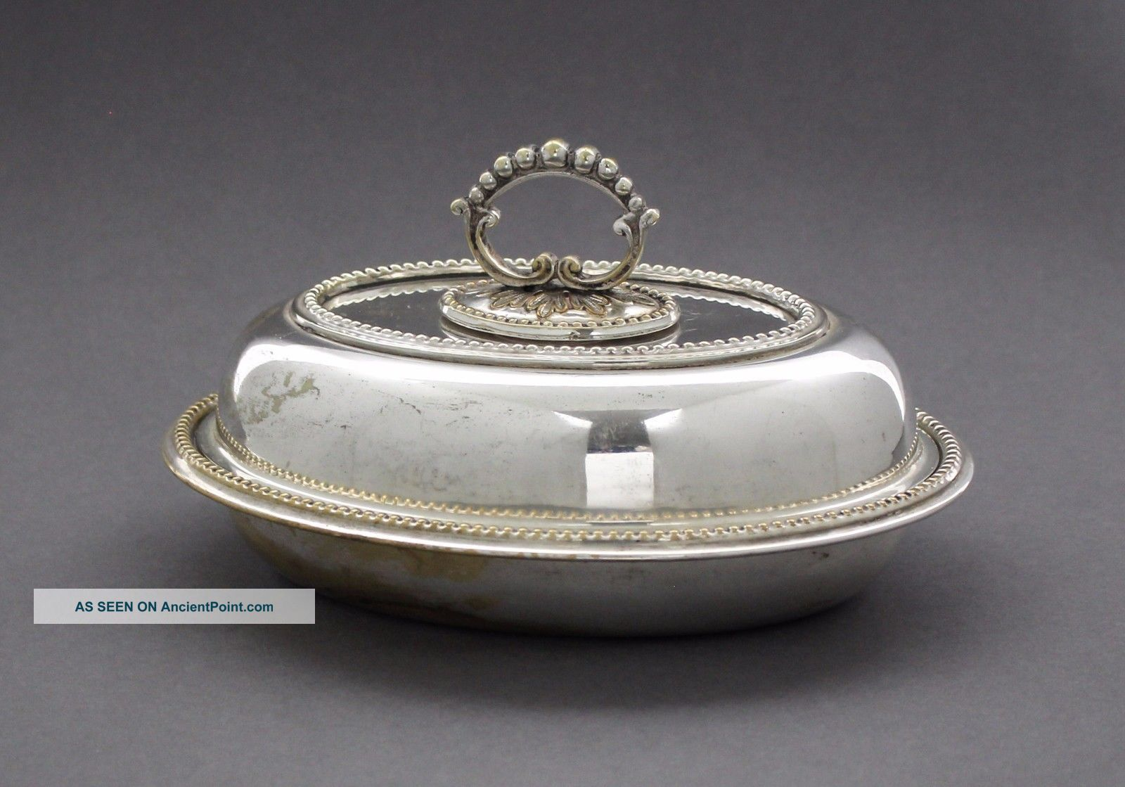 Antique Silver Plate Small Oval Entrée Dish Vegetable Lidded Tureen Beaded Dishes & Coasters photo