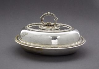 Antique Silver Plate Small Oval Entrée Dish Vegetable Lidded Tureen Beaded photo