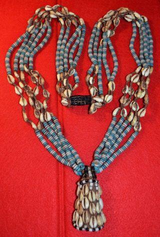 Rare Antique Kuba Tribal Necklace Woven Pendant Glass Beads Cowrie Shells,  Congo photo