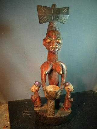 Shango / Chango Shrine Figure W / Ibeji Twins,  Nigeria / Santeria. photo