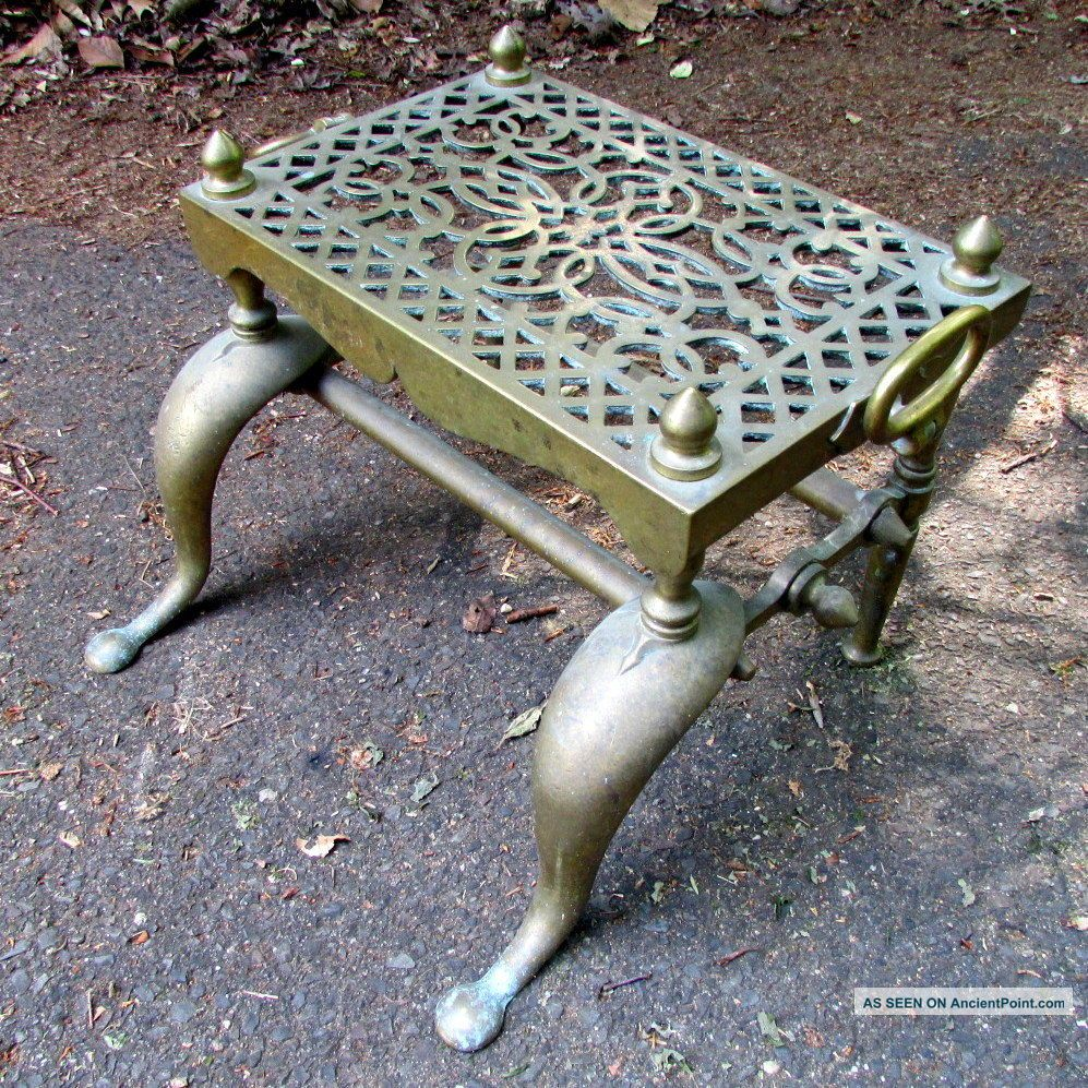 Antique English Regency Georgian Heavy Brass Fireplace Footman Table 19c Hearth Ware photo