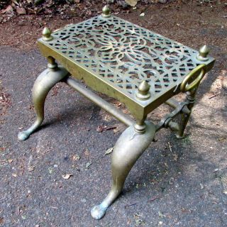 Antique English Regency Georgian Heavy Brass Fireplace Footman Table 19c photo