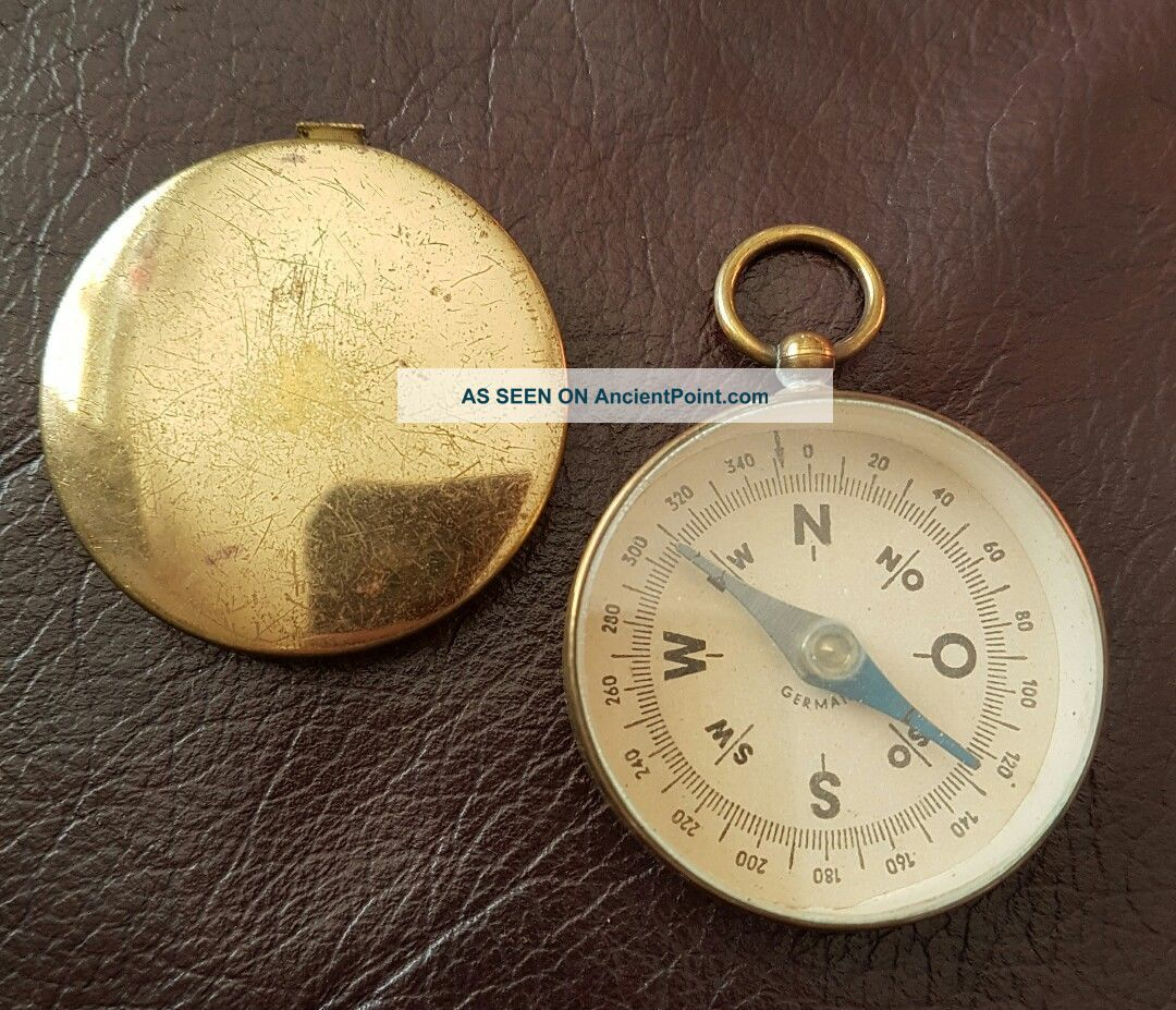 Antique Pocket Compass.  Circa 1900.  Brass Cased.  German. Other Antique Science Equip photo