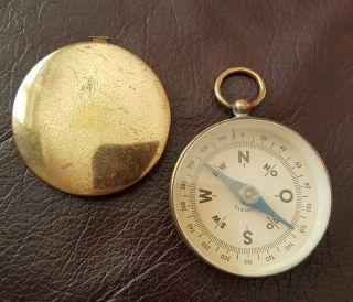 Antique Pocket Compass.  Circa 1900.  Brass Cased.  German. photo