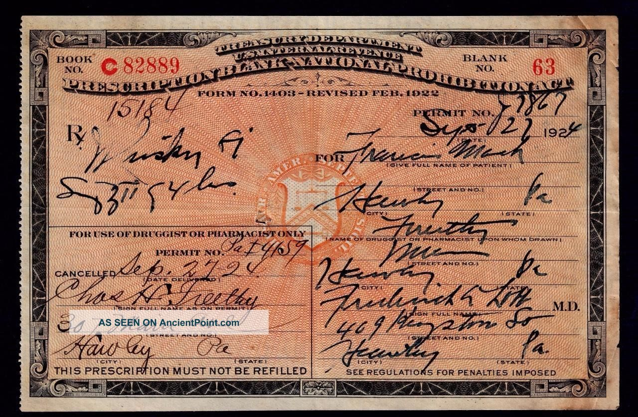 Antique Whiskey Prohibition Rx Prescription 1924 Doctor Pharmacy Bar Francis Pa Other Medical Antiques photo
