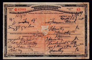 Antique Whiskey Prohibition Rx Prescription 1924 Doctor Pharmacy Bar Francis Pa photo