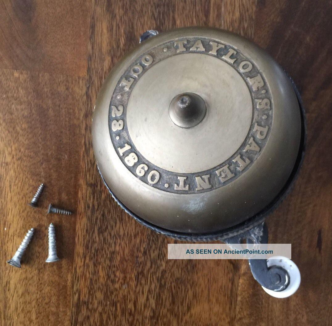 Taylors Patent 1860 Hand Crank Doorbell - Civil War Era - Antique Door Bell Door Bells & Knockers photo