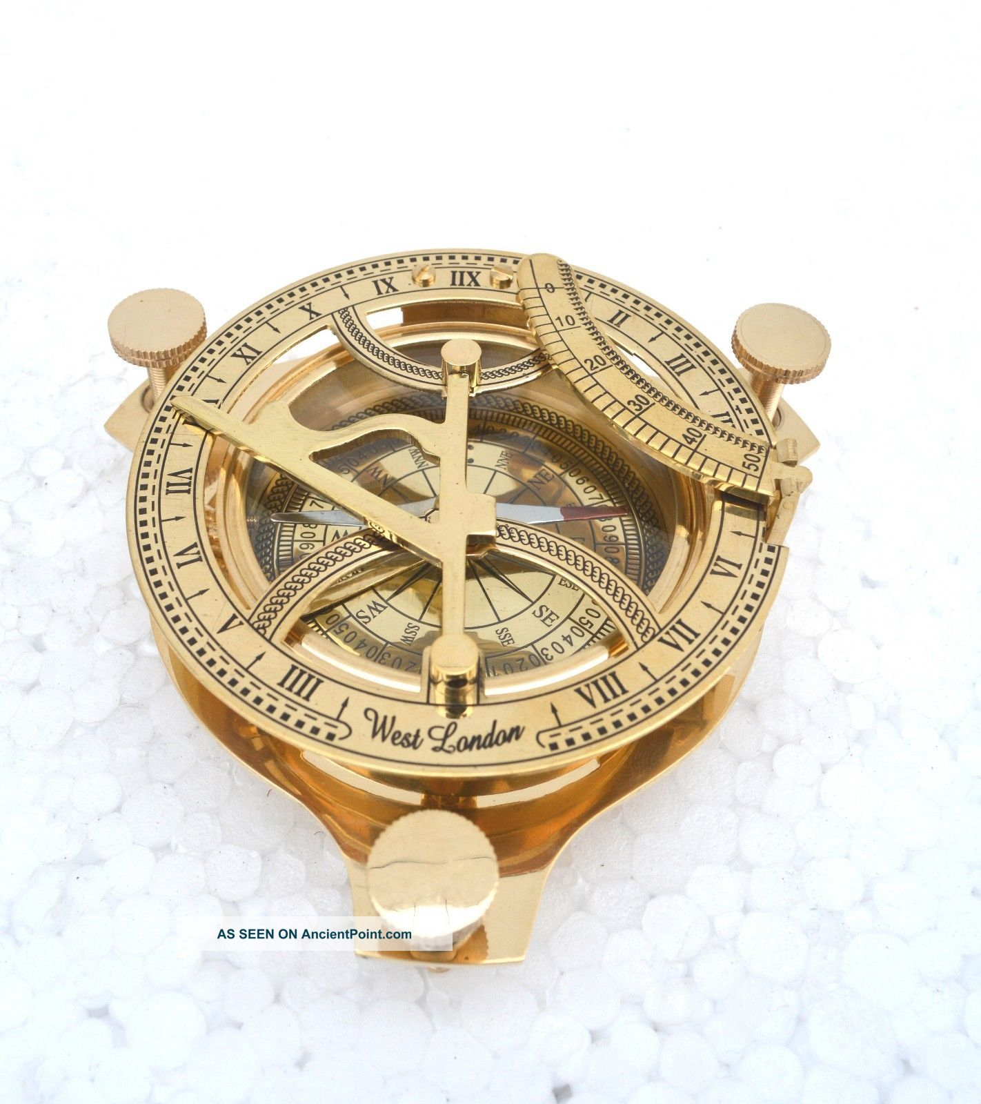 Vintage Maritime West London Antique Brass Sundial Triangular Compass Replica Compasses photo