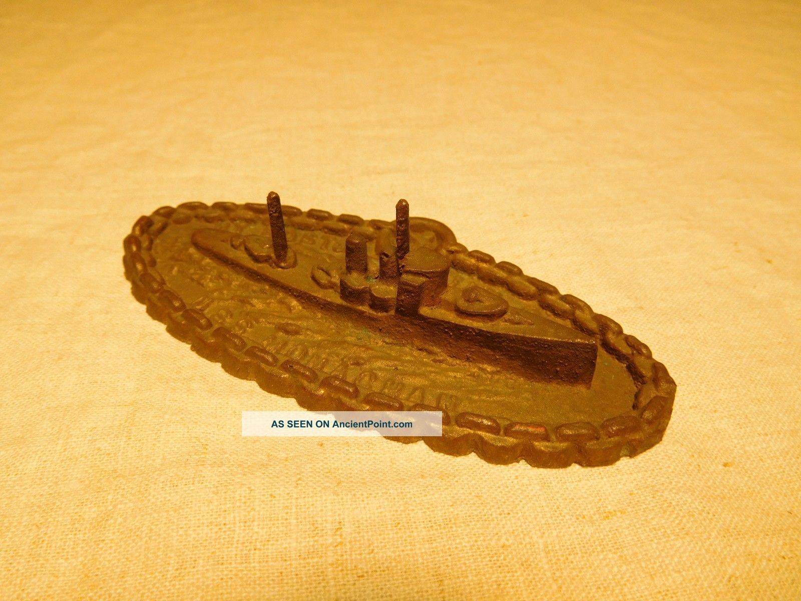 1935 Uss Monaghan Bronze Ship Launch Paperweight Other Maritime Antiques photo
