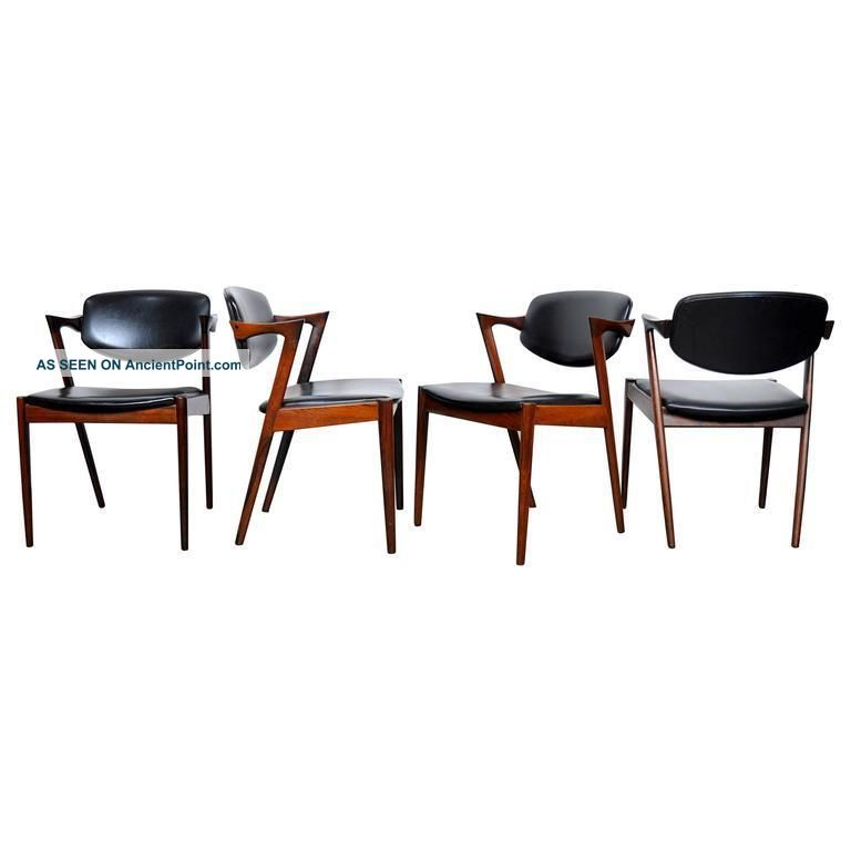 Four Kai Kristiansen Model 42 Rosewood Dining Chairs Mid Century Danish Modern Post-1950 photo