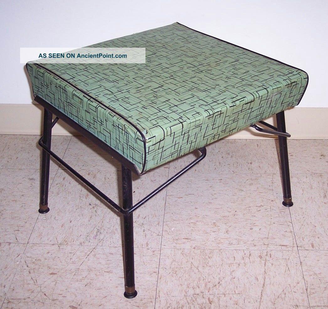 Vintage Mid Century Modern Iron Footstool Ottoman Atomic Aqua Vinyl Post-1950 photo