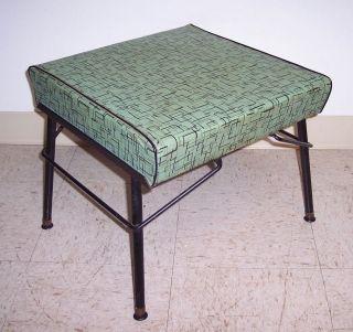 Vintage Mid Century Modern Iron Footstool Ottoman Atomic Aqua Vinyl photo