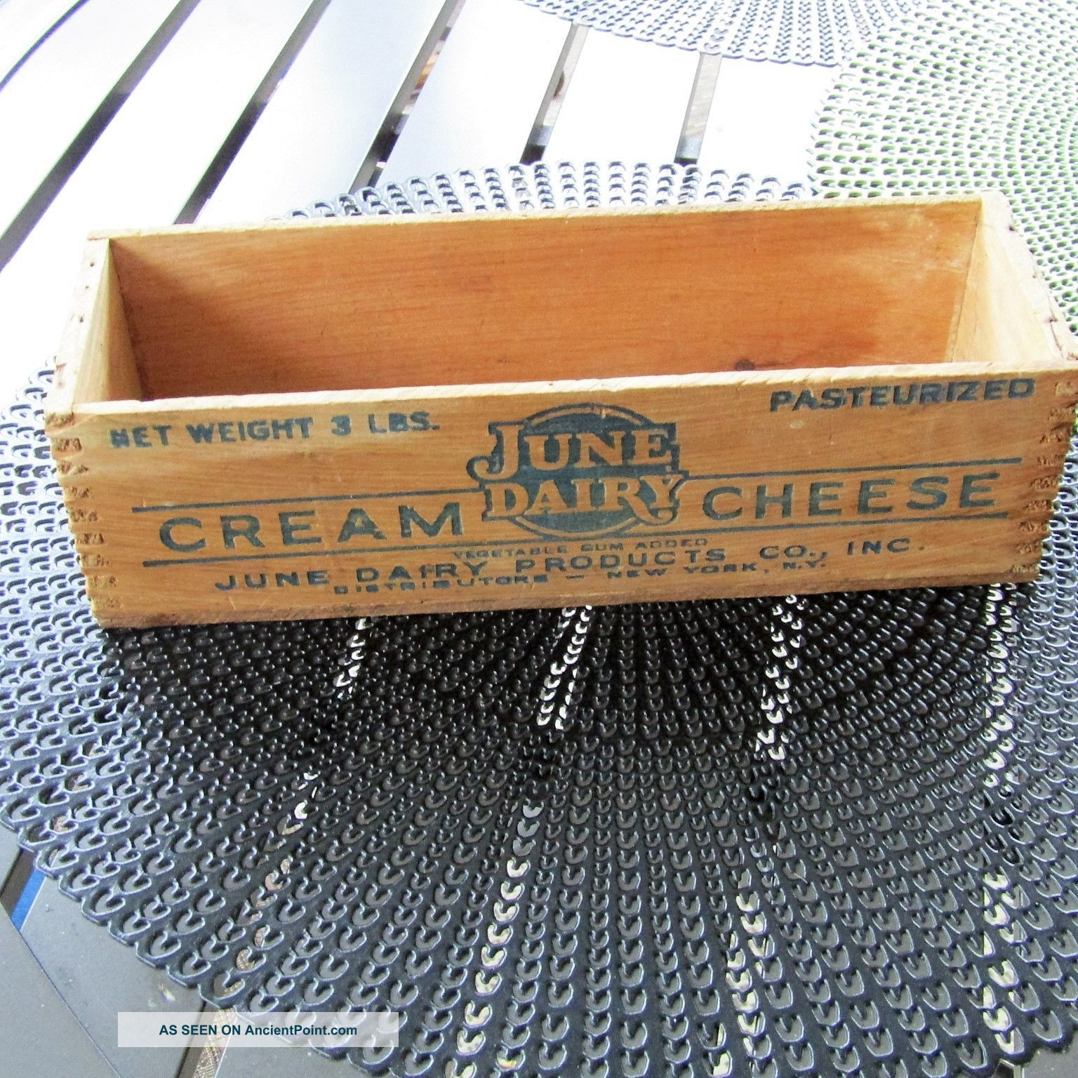 Vintage Wooden 3 Lb Cream Cheese Box June Dairy York / Jersey Boxes photo