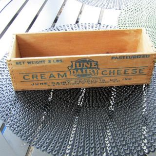 Vintage Wooden 3 Lb Cream Cheese Box June Dairy York / Jersey photo