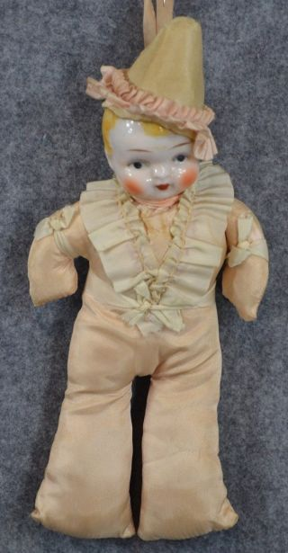 Boy Doll Pin Cushion China Head Blond Pin Cushion Antique 1900 photo
