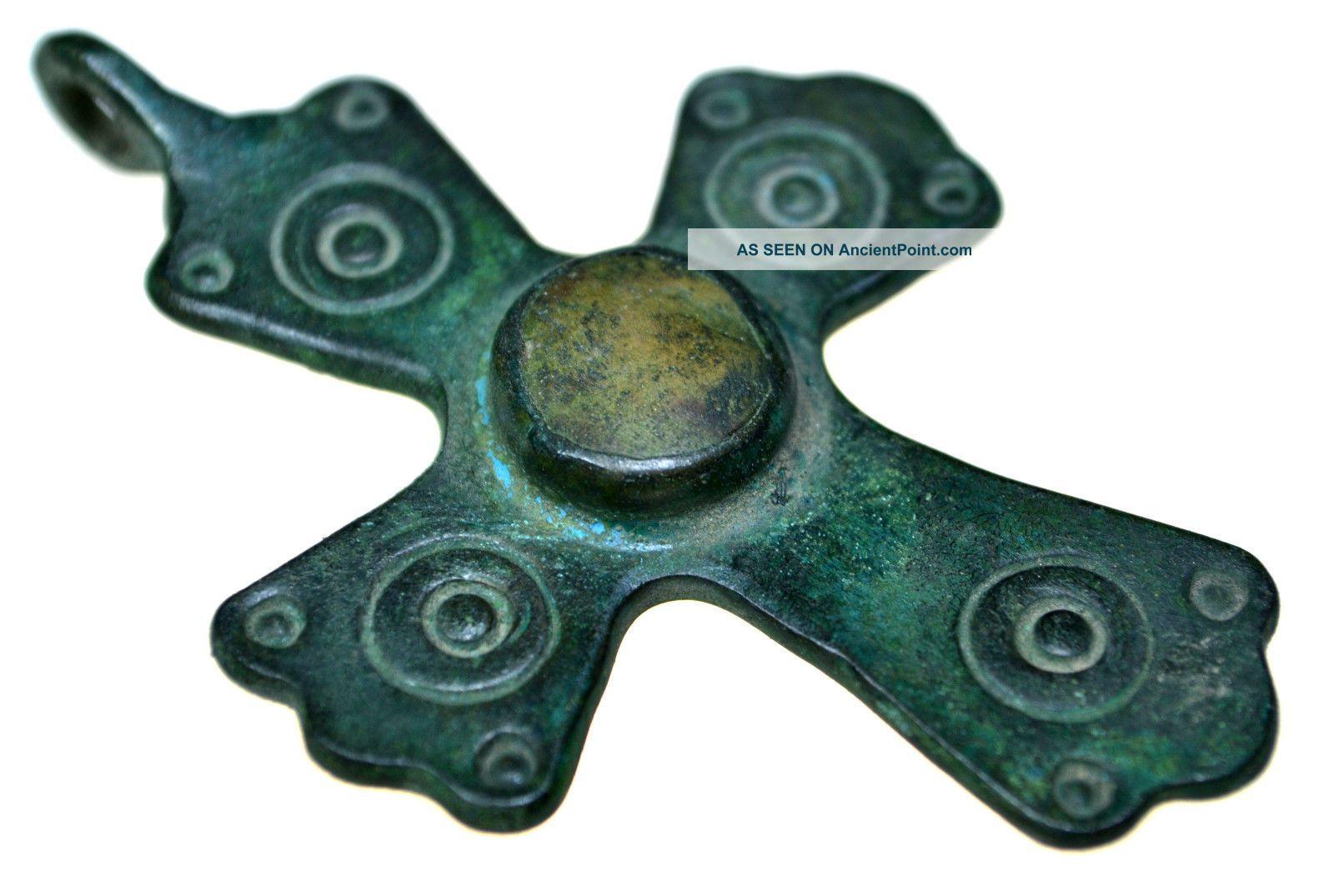 Byzantine Bronze Christian Cross Pendant With Stone Byzantine photo