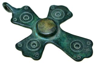 Byzantine Bronze Christian Cross Pendant With Stone photo