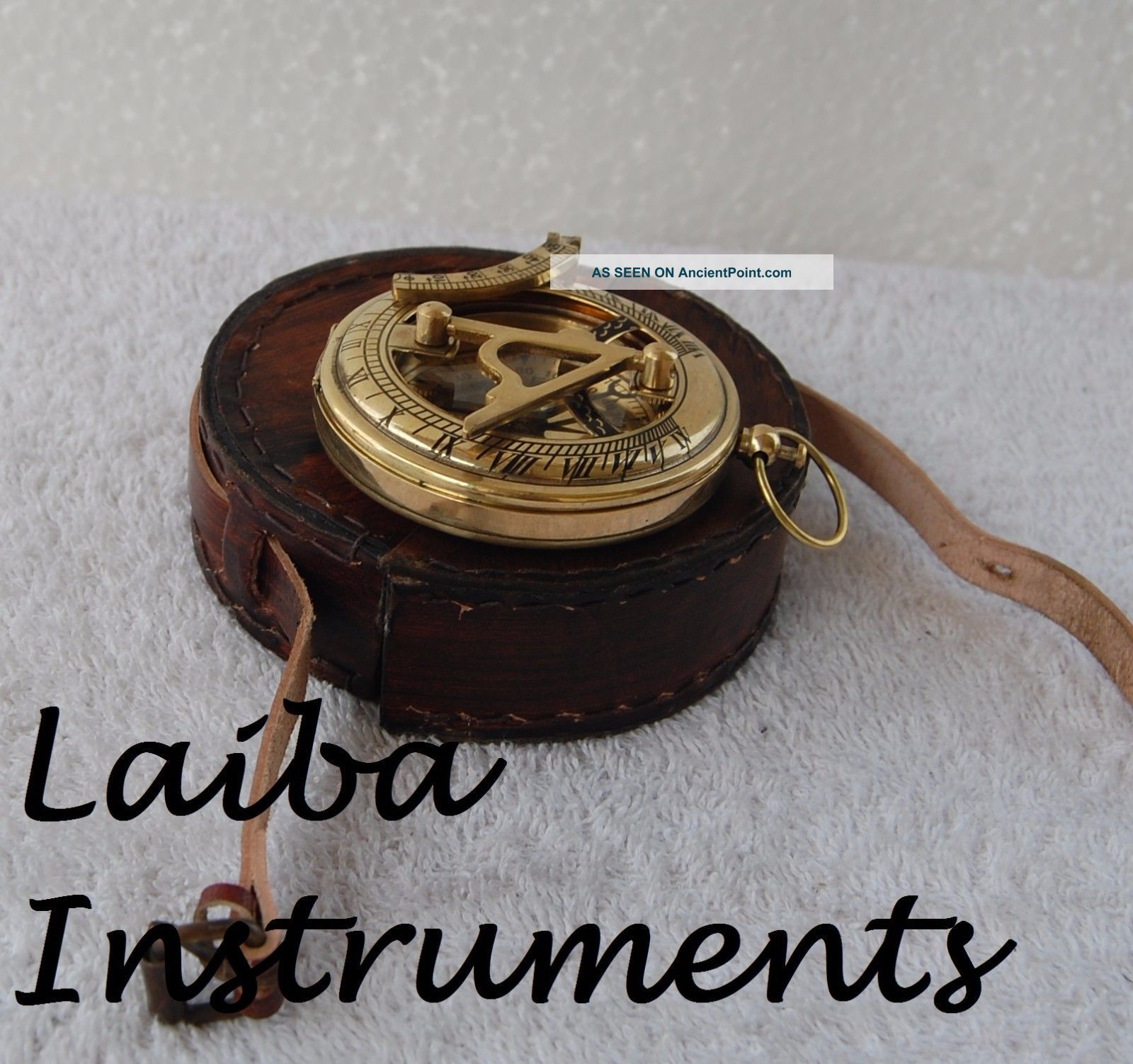 Nautical Handmade Antique Vintage Brass Gift Pocket Push Button Sundial Compass Compasses photo