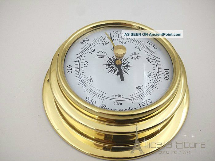 70mm Brass Enclosed Barometer Ship Equipment photo