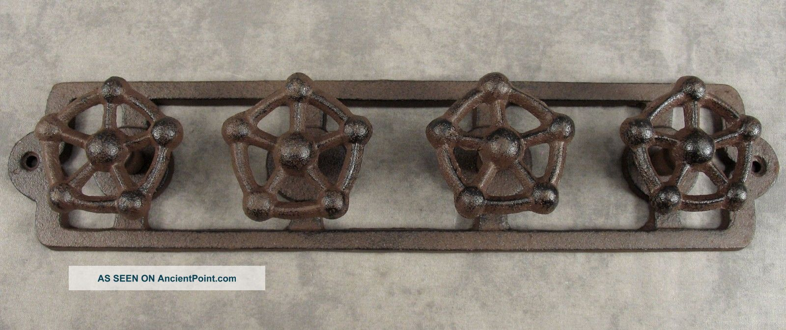 Industrial Valve Handle 4 Knob Steampunk Sculpture Cast Iron Hook Wall Rack Other Mercantile Antiques photo
