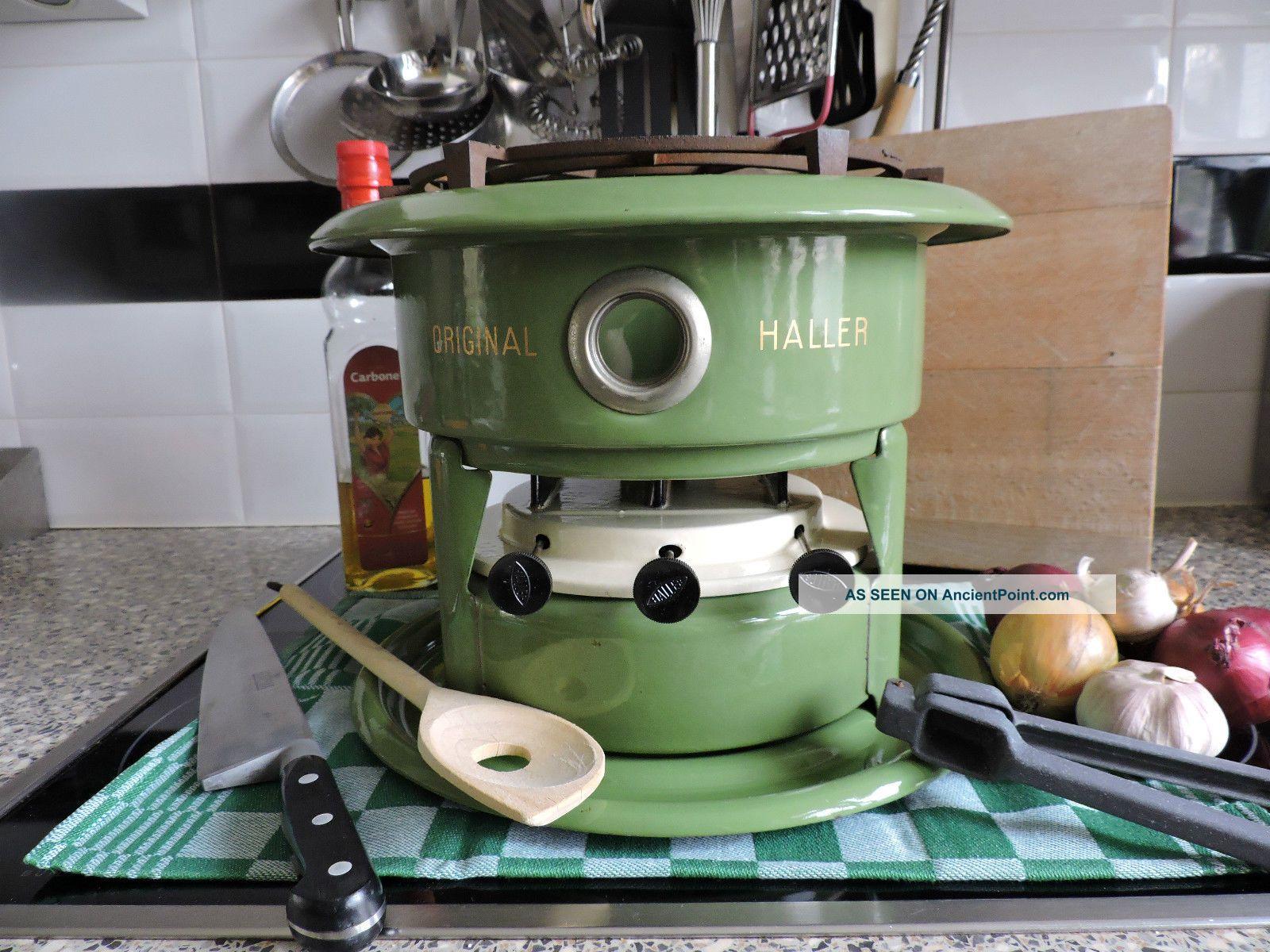 Enamel Large Green Vintage Haller Kerosene Stove Slow Cooker 3 Wicks Burner Stoves photo