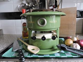 Enamel Large Green Vintage Haller Kerosene Stove Slow Cooker 3 Wicks Burner photo