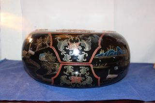 Chinese Hand - Carved Inlaid Lacquer 19c Th Storage Box photo