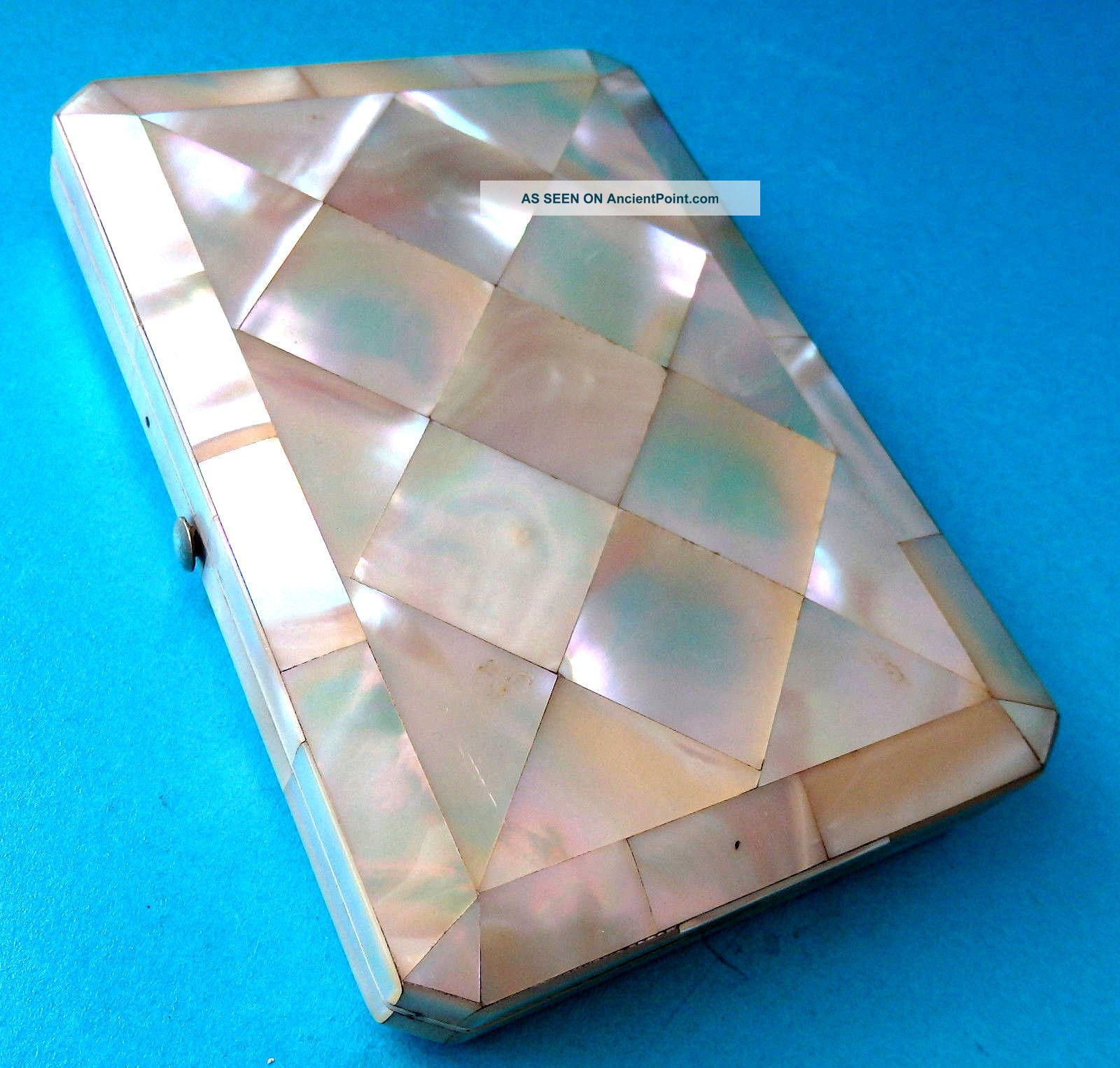 Stunning Antique Calling Card Case,  Mother Of Pearl,  Fitted Inside. Other Antique Decorative Arts photo