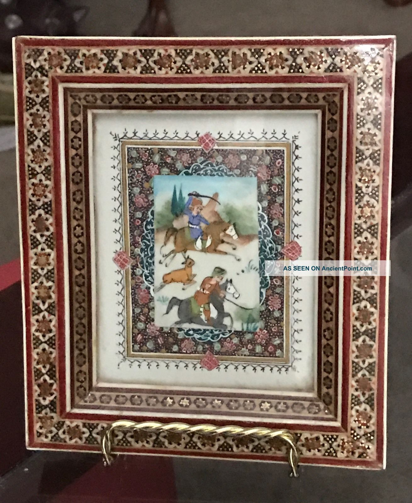 Antique - Vintage Middle Eastern - Persian Tile,  Hunting Scene,  Framed Tiles photo