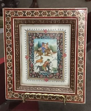 Antique - Vintage Middle Eastern - Persian Tile,  Hunting Scene,  Framed photo