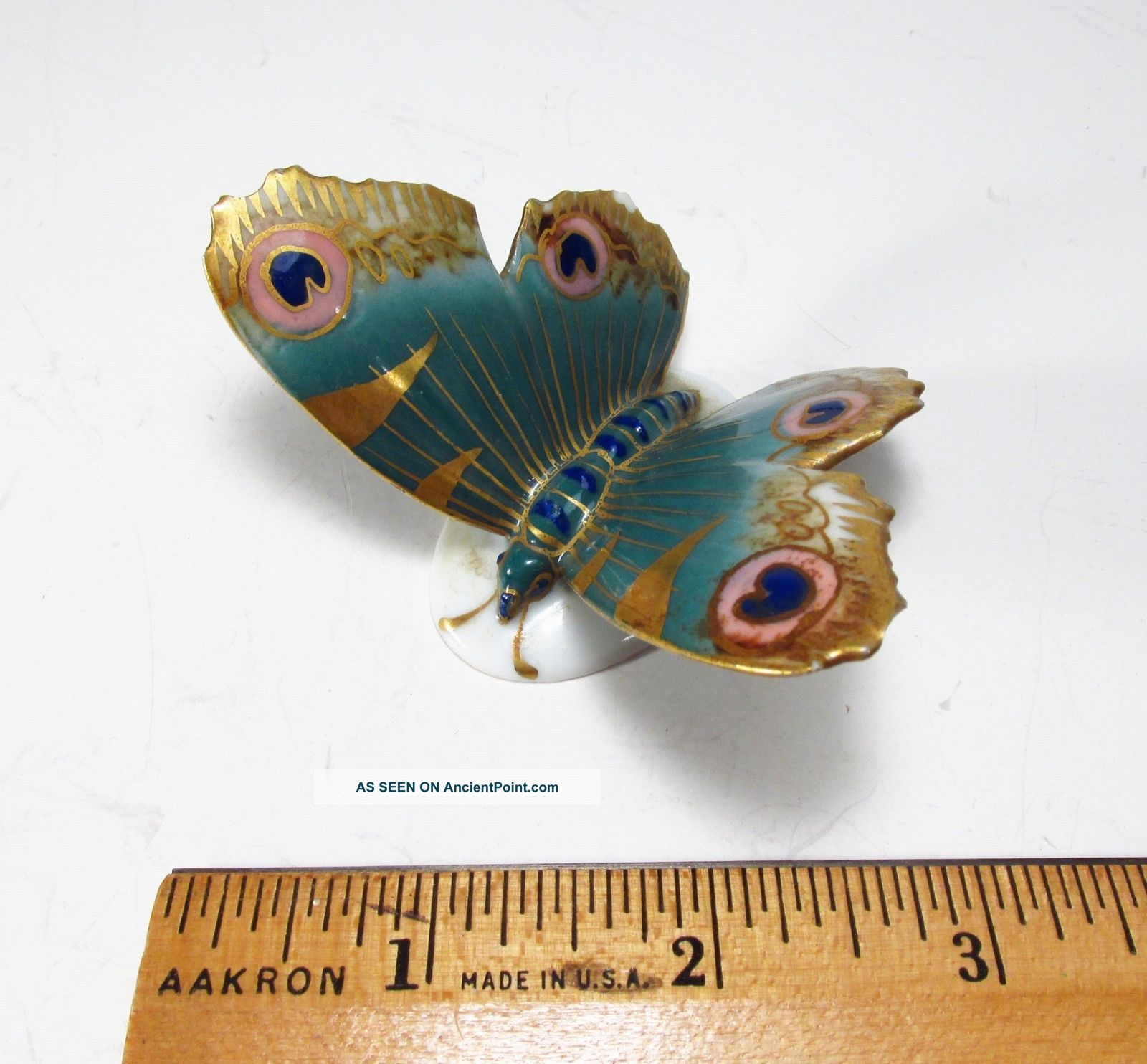 Antique Karl Ens Germany Small Porcelain Gold Green Colored Butterfly Figurine Figurines photo