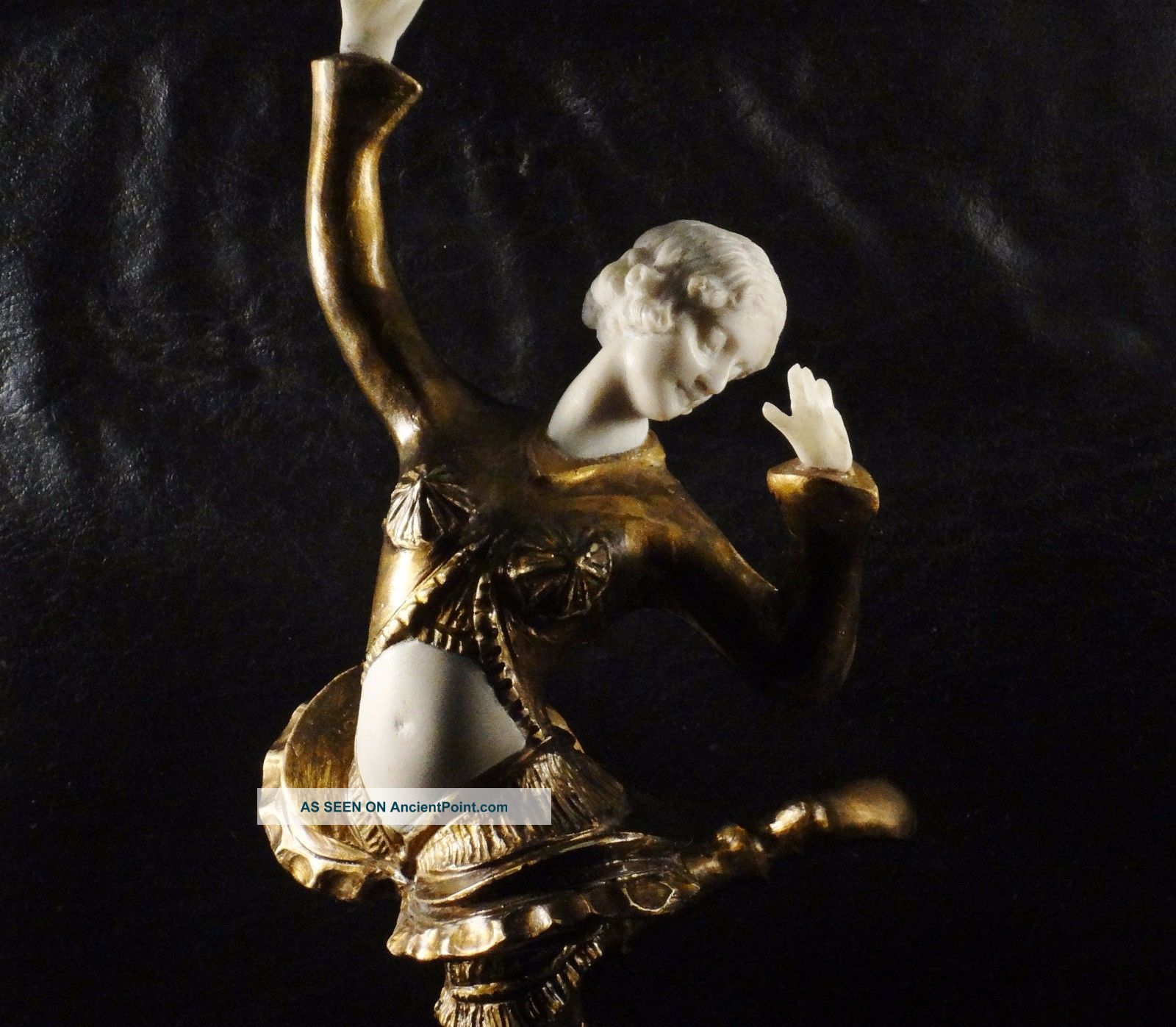 Antique Art Nouveau Dancer Bronze Biscuit Marble Sculpture Statue Figure See Art Nouveau photo
