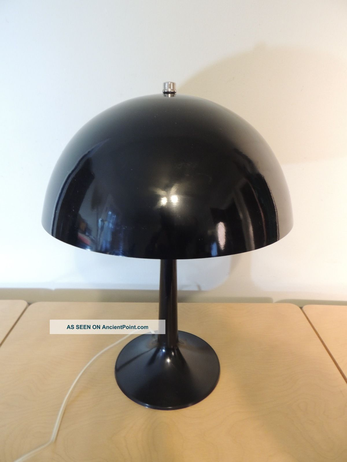 Black Mid Century Modern Mushroom Table Lamp Aluminum Shade Mid-Century Modernism photo