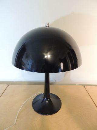 Black Mid Century Modern Mushroom Table Lamp Aluminum Shade photo