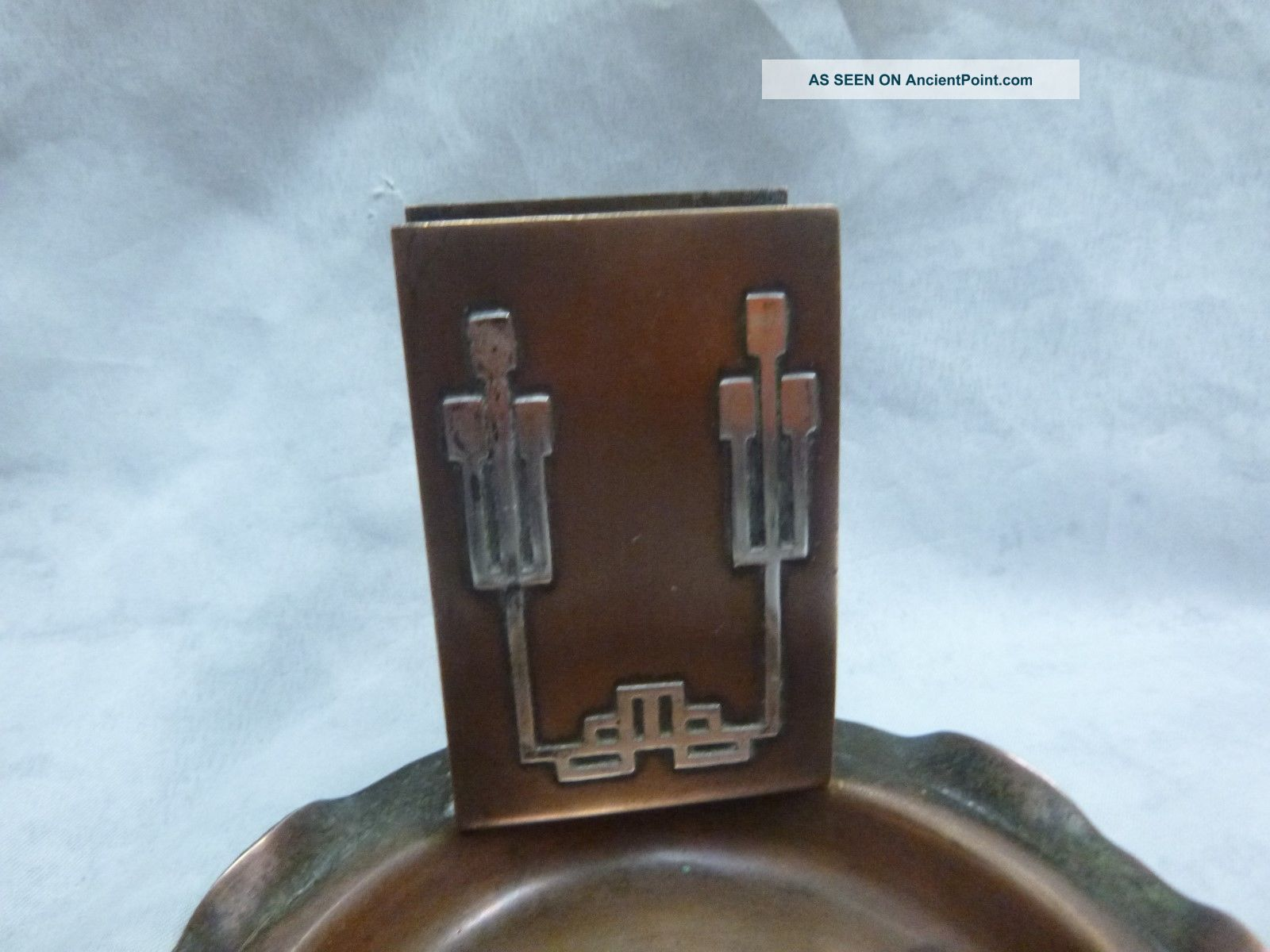 Cross London Bronze Arts & Crafts Ashtray With Matchholder Arts & Crafts Movement photo