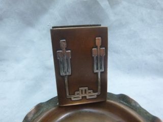 Cross London Bronze Arts & Crafts Ashtray With Matchholder photo