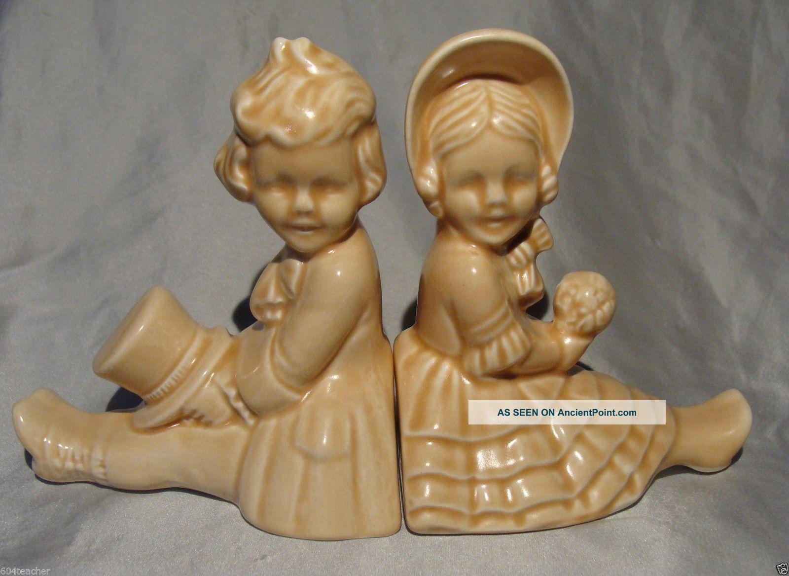Antique Figural Sylvac Victorian Salt/pepper Shakers/pots England Half Doll Victorian photo