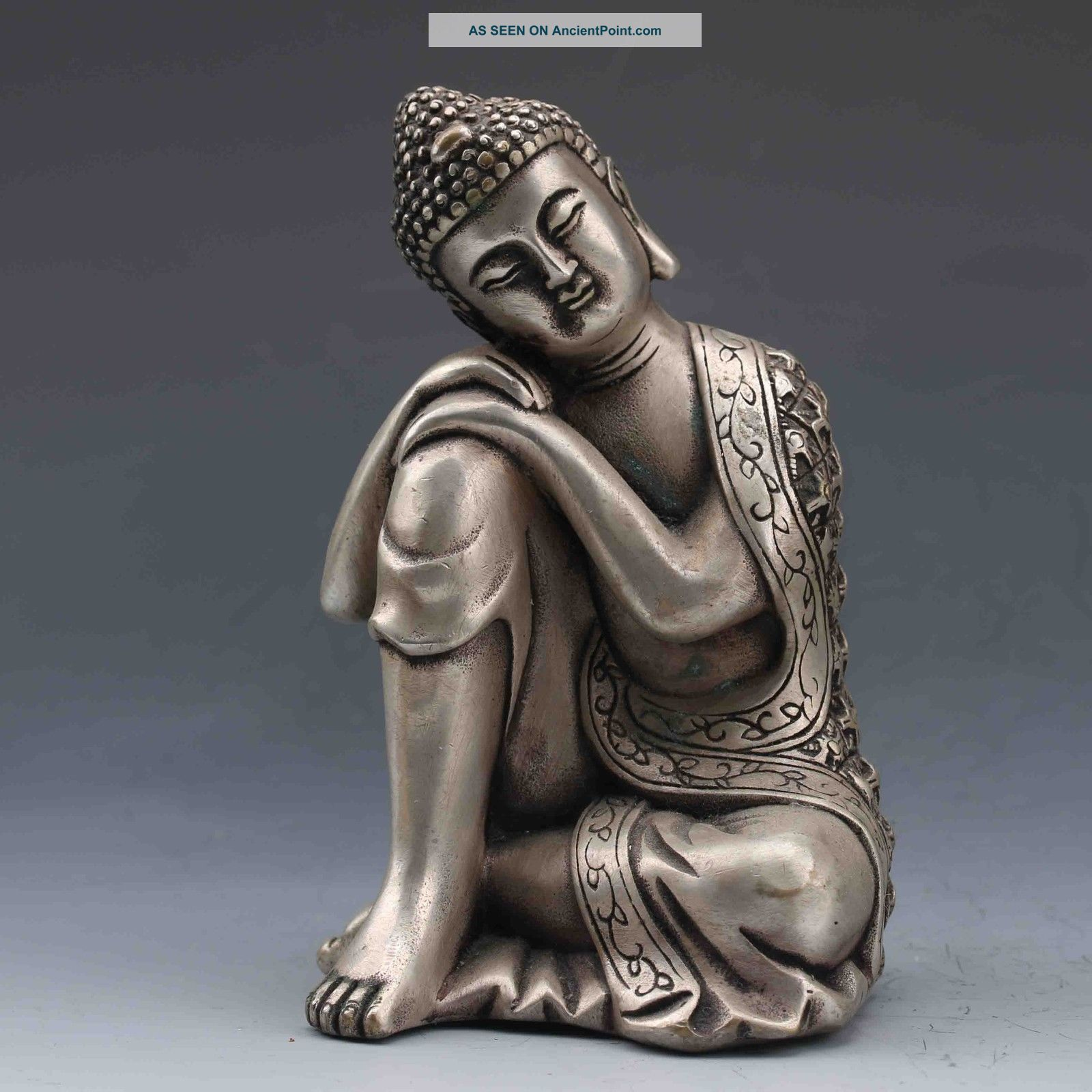 Collectible Chinese Silver Copper Handwork Seated Buddha Statues Buddha photo