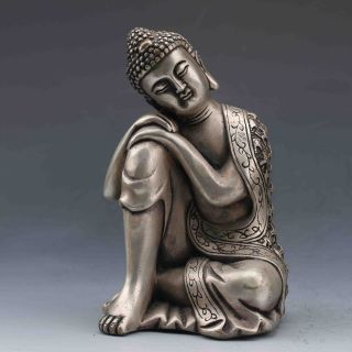 Collectible Chinese Silver Copper Handwork Seated Buddha Statues photo