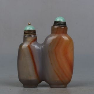 Chinese Exquisite Hand - Carved Siamese Agate Snuff Bottle photo