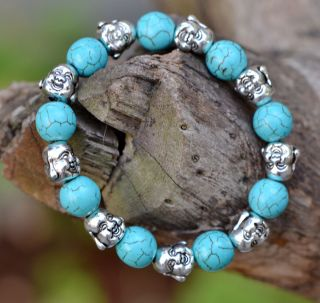 Natural Turquoise & Tibet Silver Handwork National Fashion Bracelet @aa32 photo