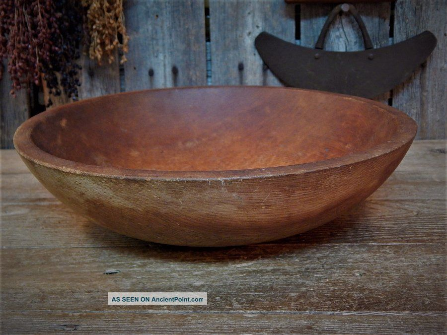 Antique Primitive Old Munising Wood Dough Bowl Farmhouse Kitchen Primitives photo