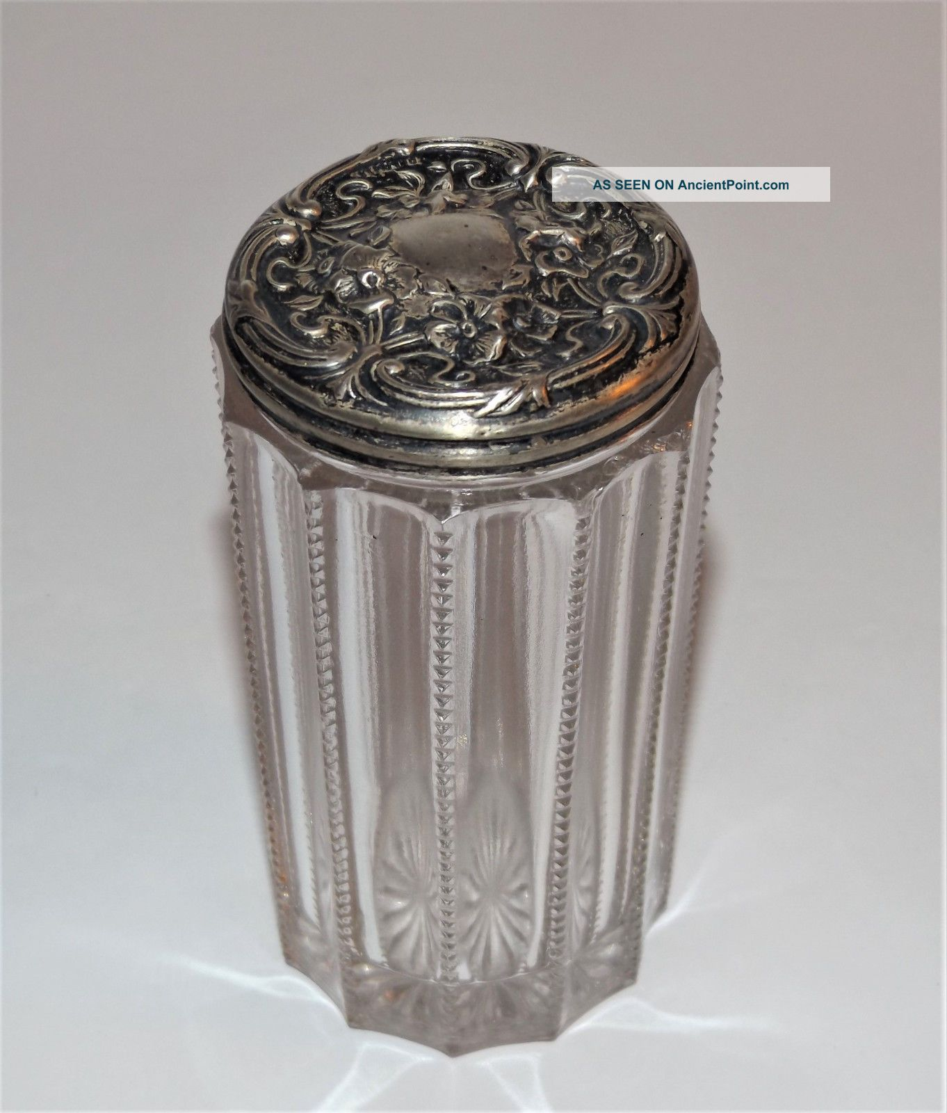 Antique Sterling Repousse Tall Zipper Pattern Vintage Glass Dresser Vanity Jar Jars photo