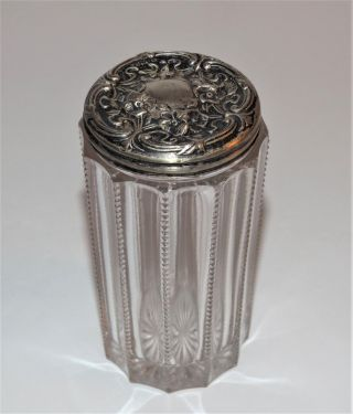 Antique Sterling Repousse Tall Zipper Pattern Vintage Glass Dresser Vanity Jar photo