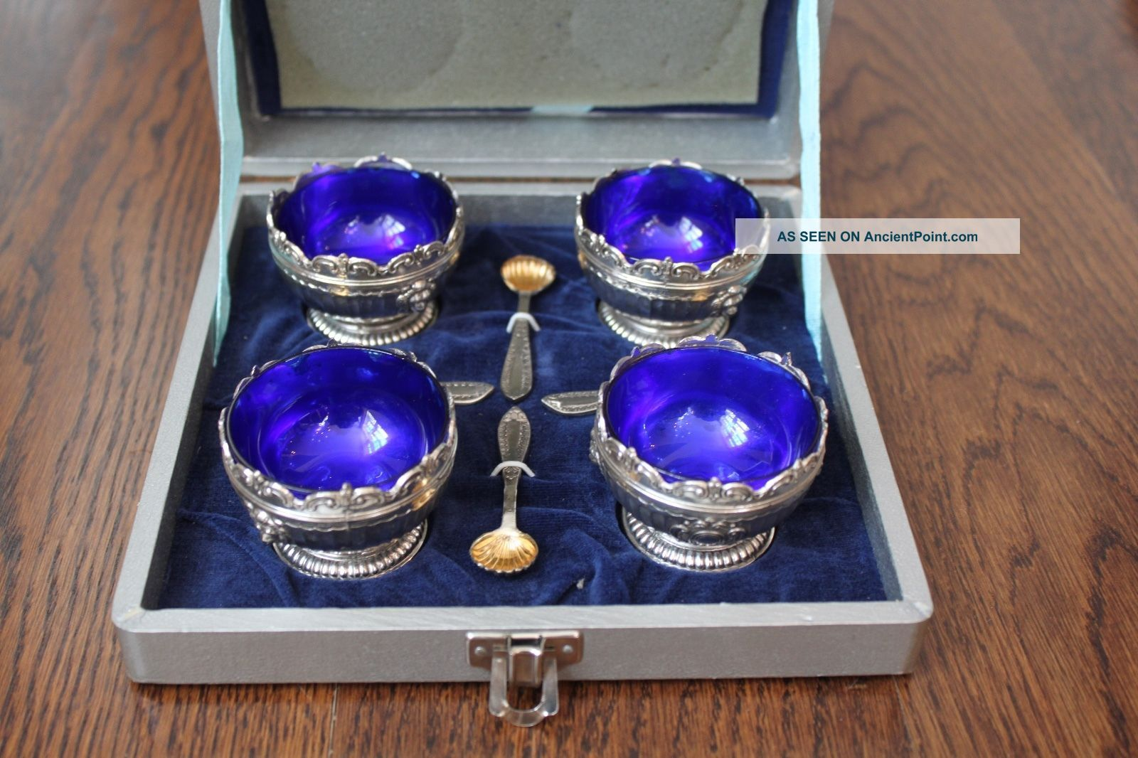 (4) Wm Mtg Co.  Cobalt Blue Glass Silver Salt Cellar With Spoon Box Salt Cellars photo